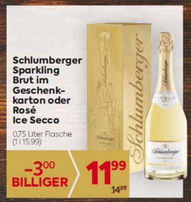 Schlumberger Sparkling Brut im Geschenkkarton oder Rosé Ice Secco um € 11,99