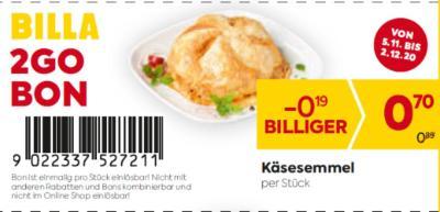 Billa 2GO Bon: Käsesemmel um € 0,19 billiger.