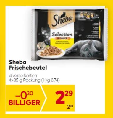 Sheba Frischebeutel in diversen Sorten um € 2,29