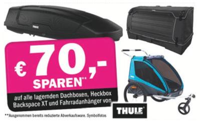 70 € auf alle lagernden Dachboxen, Heckbox Backspace XT und Fahrradanhänger von THULE