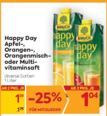 Rauch Happy Day Apfel-, Orangen-, Orangenmisch- oder Multivitaminsaft in diversen Sorten um € 1,39