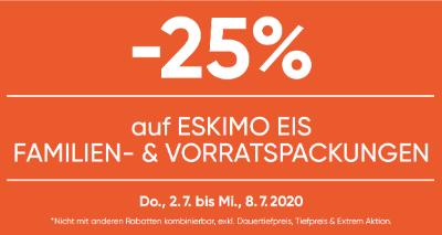 -25% auf Eskimo Eis Familien- & Vorratspackungen