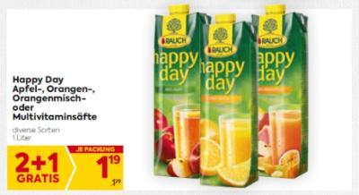 Rauch Happy Day Apfel-, Orangen-, Orangenmisch- oder Multivitaminsäfte in diversen Sorten um € 1,19