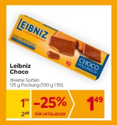 Leibniz Choco in diversen Sorten um € 1,99