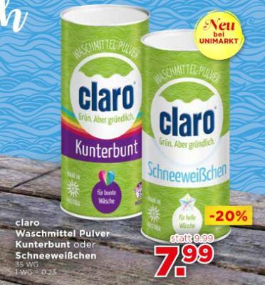 claro Waschmittel Pulver Kunterbunt oder Schneeweißchen