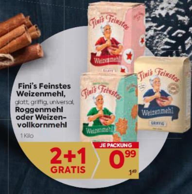 Fini's Feinstes Weizenmehl (glatt, griffig, universal), Roggenmehl oder Weizenvollkornmehl um € 0,99