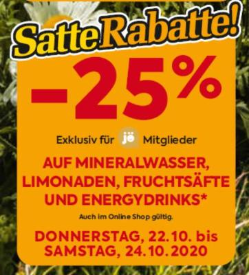 -25% auf Mineralwasser, Limonaden, Fruchtsäfte und Energydrinks
