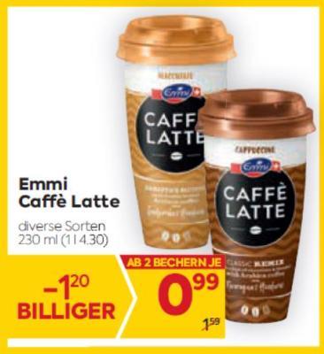 Emmi Caffè Latte in diversen Sorten um € 0,99