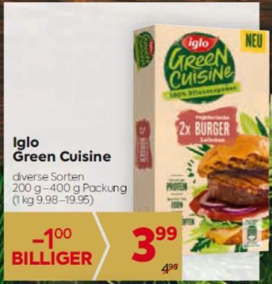 Iglo Green Cuisine in diversen Sorten um € 3,99