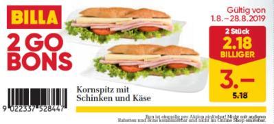 Billa 2GO Bon: Kornspitz mit Schinken und Käse (2 Stück) um € 2,18 billiger.