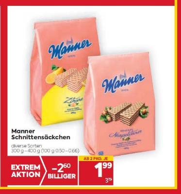 Manner Schnittensäckchen in diversen Sorten um € 1,99