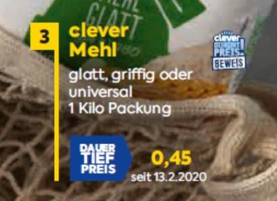 Clever Mehl in diversen Sorten um € 0,45