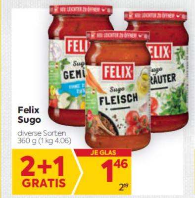 Felix Sugo in diversen Sorten um € 1,46
