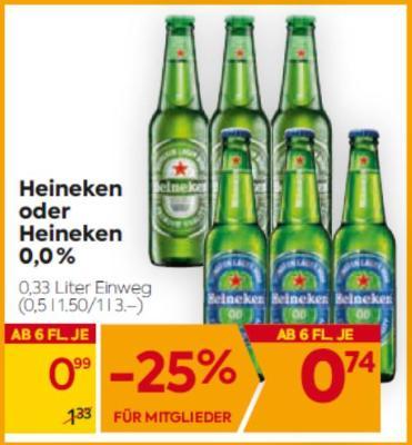 Heineken oder Heineken 0,0% um € 0,99