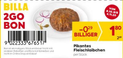 Billa 2GO Bon: Pikantes Fleischlaibchen um € 0,29 billiger.