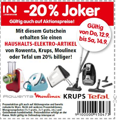 -20% auf einen Haushalts-Elektro-Artikel von Rowenta, Krups, Moulinex oder Tefal