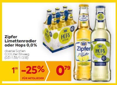 Zipfer Limettenradler oder Hops 0,0% in diversen Sorten um € 1,05