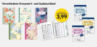 Verschiedene Kreuzwort- und Sudokurätsel ab 3,99 Euro