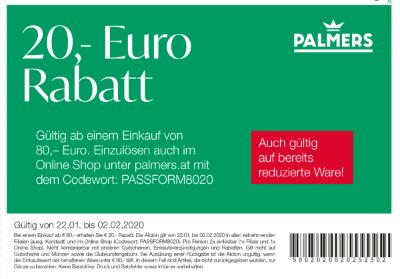 Palmers 20,- Euro Rabatt