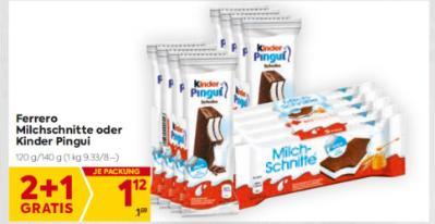 Ferrero Milchschnitte oder Kinder Pingui um € 1,12