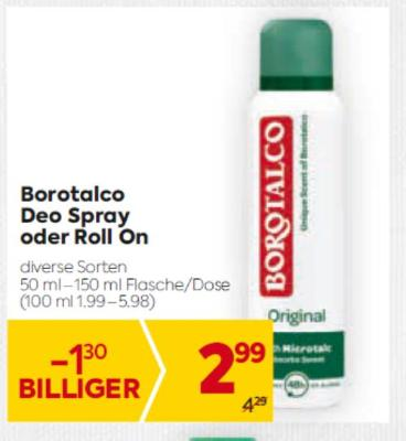 Borotalco Deo Spray oder Roll On in diversen Sorten um € 2,99