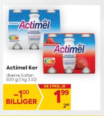 Danone Actimel 6er in diversen Sorten um € 1,99