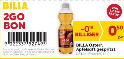 Billa 2GO Bon: BILLA Österr. Apfelsaft gespritzt um € 0,19 billiger.