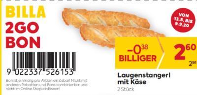 Billa 2GO Bon: Laugenstangerl mit Käse (2 Stück) um € 0,38 billiger