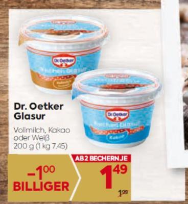 Dr. Oetker Glasur in diversen Sorten um € 1,49