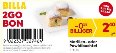 Billa 2GO Bon: Marillen- oder Powidlbuchtel um € 0,58 billiger.