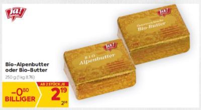 Ja Natürlich Bio-Alpenbutter oder Bio-Butter um € 2,19