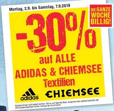 - 30% auf alle Adidas & Chiemsee Textilien