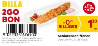 Billa 2GO Bon: Schinkenschiffchen um € 0,29 billiger.
