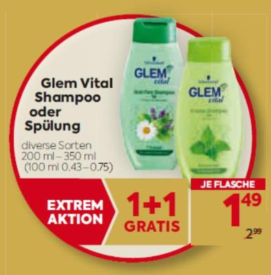 Glem Vital Shampoo oder Spülung in diversen Sorten um € 1,49