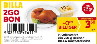 Billa 2GO Bon: 1/2 Grillhuhn + ein 250 g Becher BILLA Kartoffelsalat um € 0,89 billiger.