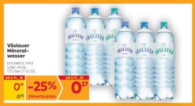 Vöslauer Mineralwasser in diversen Sorten um € 0,49