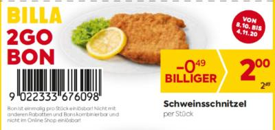 Billa 2GO Bon: Schweinsschnitzel um € 0,49 billiger.