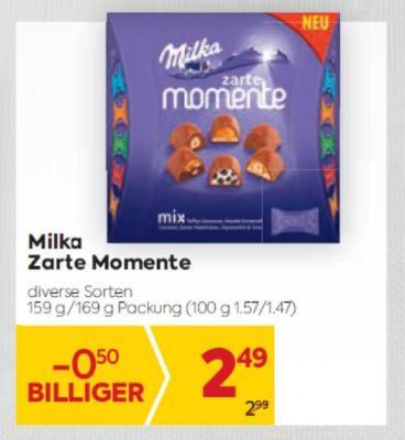 Milka Zarte Momente in diversen Sorten um € 2,49