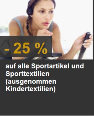 -25% auf alle Sportartikel & Sporttextilien
