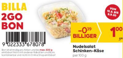 Billa 2GO Bon: Nudelsalat Schinken-Käse um € 0,39 billiger