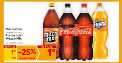 Coca-Cola (in diversen Sorten), Fanta oder Mezzo Mix um € 1,49