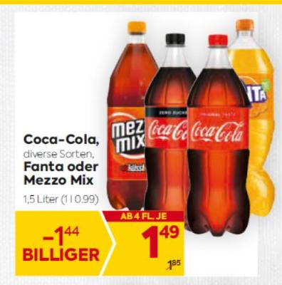Coca-Cola in diversen Sorten, Fanta oder Mezzo Mix um € 1,49