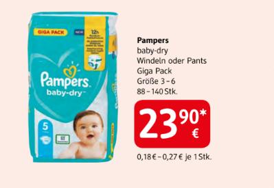 Pampers baby-dry Windeln oder Pants Giga Pack Größe 3 - 6 sortiert um € 23,90