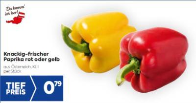 Knackig-frischer Paprika rot oder gelb um € 0,79