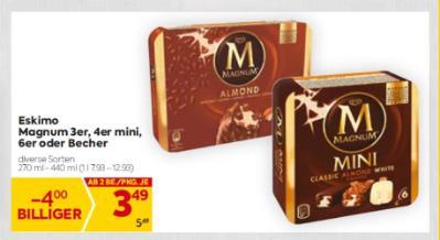 Eskimo Magnum 3er, 4er mini, 6er oder Becher in diversen Sorten um € 3,49