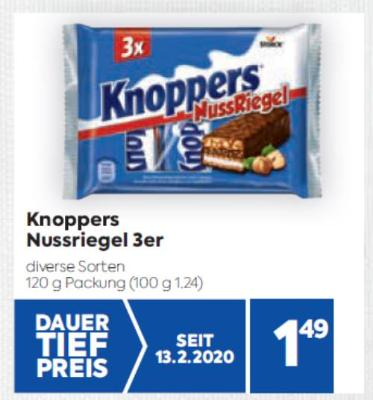 Knoppers Nussriegel 3er in diversen Sorten um € 1,49