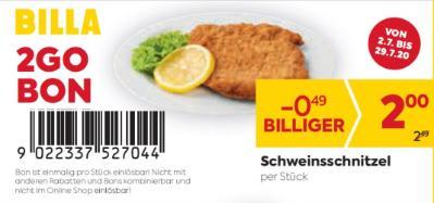 Billa 2 GO Bon: Schweinsschnitzel um € 0,49 billiger.