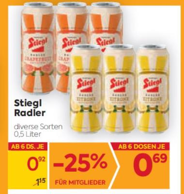Stiegl Radler in diversen Sorten um € 0,92