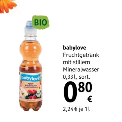 Babylove Fruchtgetränke mit stillem Mineralwasser sortiert um € 0,80