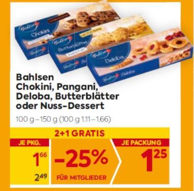 Bahlsen Chokini, Pangani, Deloba, Butterblätter oder Nuss-Dessert um € 1,66